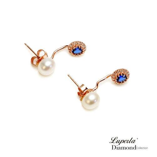 大東山珠寶 浪漫微醺海洋藍 玫瑰金天然珍珠耳環 雙用耳環 1