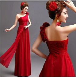 天使嫁衣【AE1867】紅色斜單肩立體花朵收腰飄紗長禮服˙下架