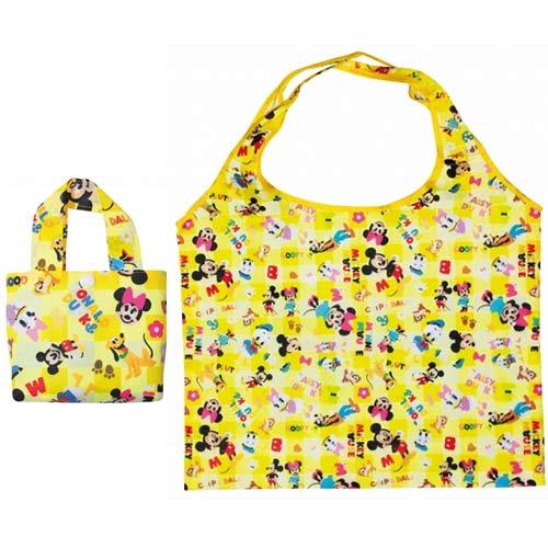 【日本進口正版】迪士尼 米奇好朋友 摺疊 購物袋 環保袋 手提袋 防潑水 Disney 米妮 唐老鴨 - 047552