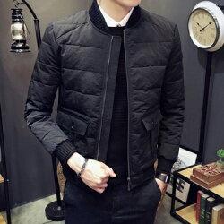 ★夾克外套棒球領棉衣-純色時尚經典休閒男外套73qa38【獨家進口】【米蘭精品】