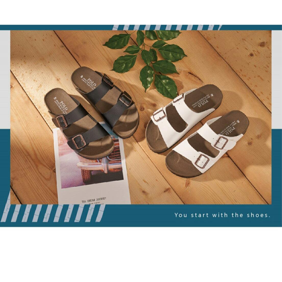 【滿額領券↘折$120】情侶款雙方釦伯肯拖鞋 [805] 黑 白 MIT台灣製造【巷子屋】