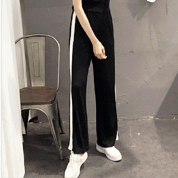 PS Mall 個性百搭側邊白條休閒寬褲【T033】