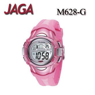 JAGA 捷卡 M628-G 多功能電子錶 休閒錶 34mm 手錶 女錶-粉色 (公司貨/保證防水可游泳)