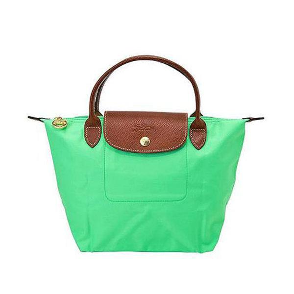 Longchamp法國經典摺疊水餃包(S短把亮綠)