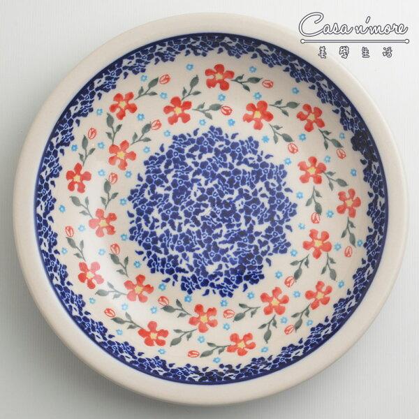 波蘭陶藍印紅花系列圓形深餐盤陶瓷盤菜盤水果盤圓盤深盤22cm波蘭手工製