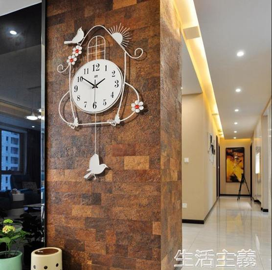 掛鐘 掛鐘鐘錶掛鐘客廳創意簡約歐式現代時尚時鐘臥室家用靜音夜光石英鐘大