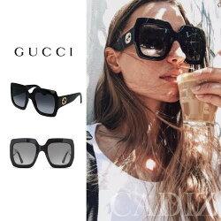 義大利正品 GUCCI Oversize Square Sunglasses 黑色大方框太陽眼鏡 GG0053S