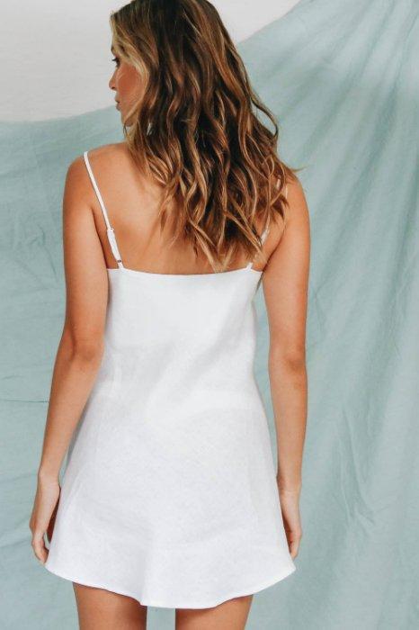 歐美新款服飾 純色簡約性感開衩細肩帶連身裙洋裝 4色 FA9053