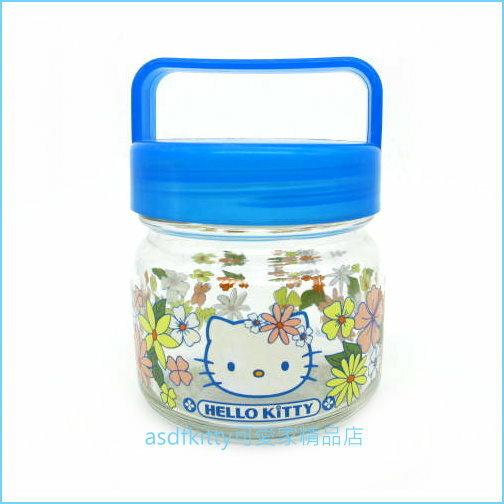 asdfkitty可愛家☆展示品出清-KITTY藍色花園玻璃收納罐-2001年出品-日本製