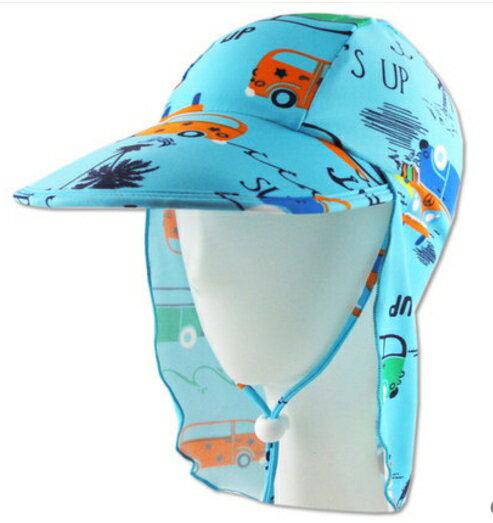 夏季兒童帽子護頸防曬沙灘帽男童寶寶防曬游泳帽-車子款