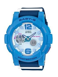 CASIO BABY-G BGA-180-2B3衝浪滑板雙顯流行腕錶/藍色面44mm