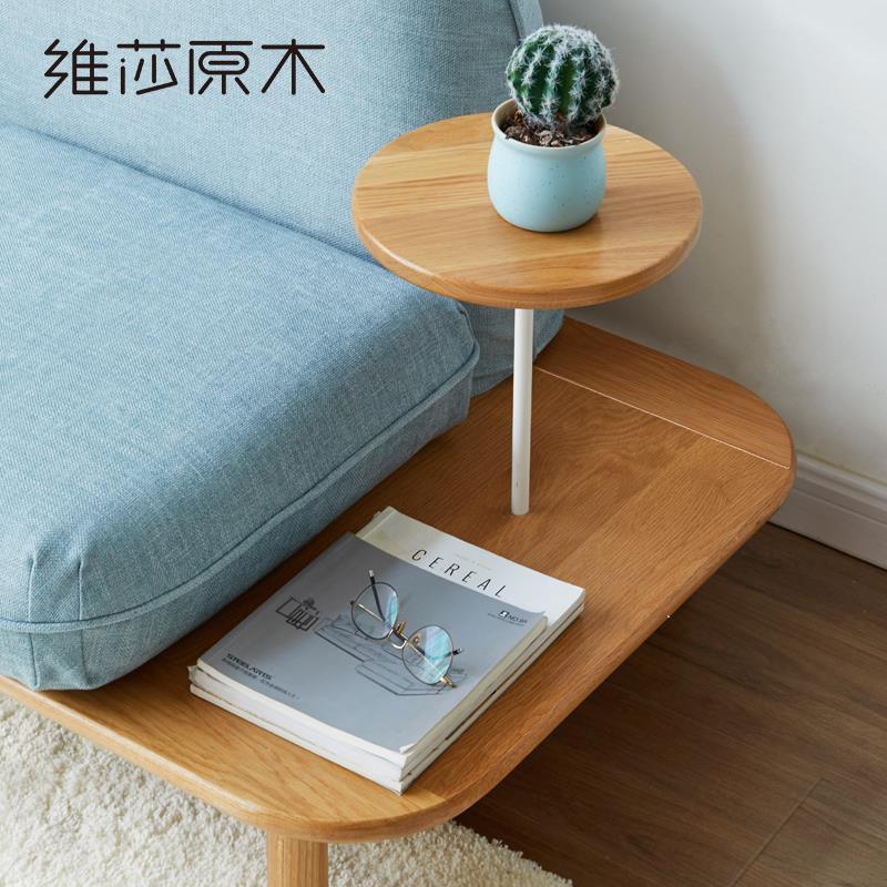 純實木沙發簡約現代小戶型可拆洗型布藝沙發2019客廳新款家具♠極有家♠