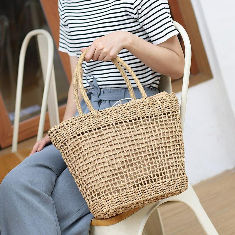 ins夏季海邊度假沙灘包休閒抽帶大容量草編包網紅鏤空漁網手提包