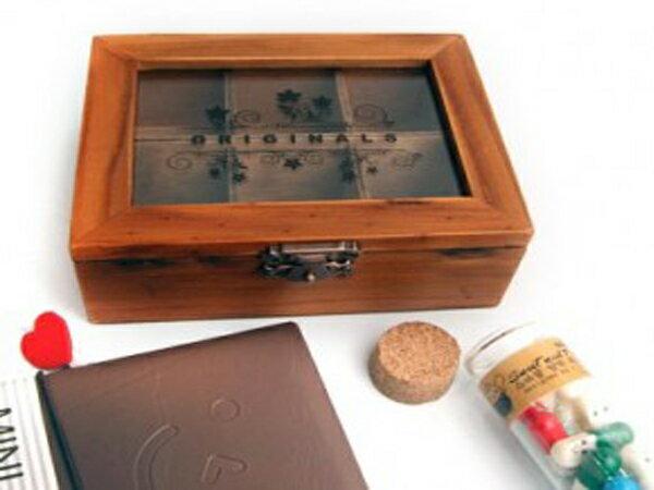 BO雜貨【SV6268】創意復古木盒 壓克力透明蓋 6格珠寶盒首飾盒 鄉村風木質收納盒