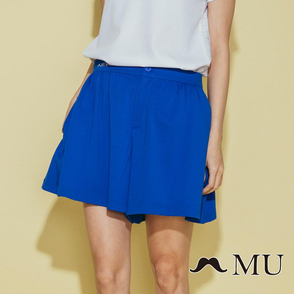 【MU】腰部LOGO刺繡刺繡短寬褲  7325162 0