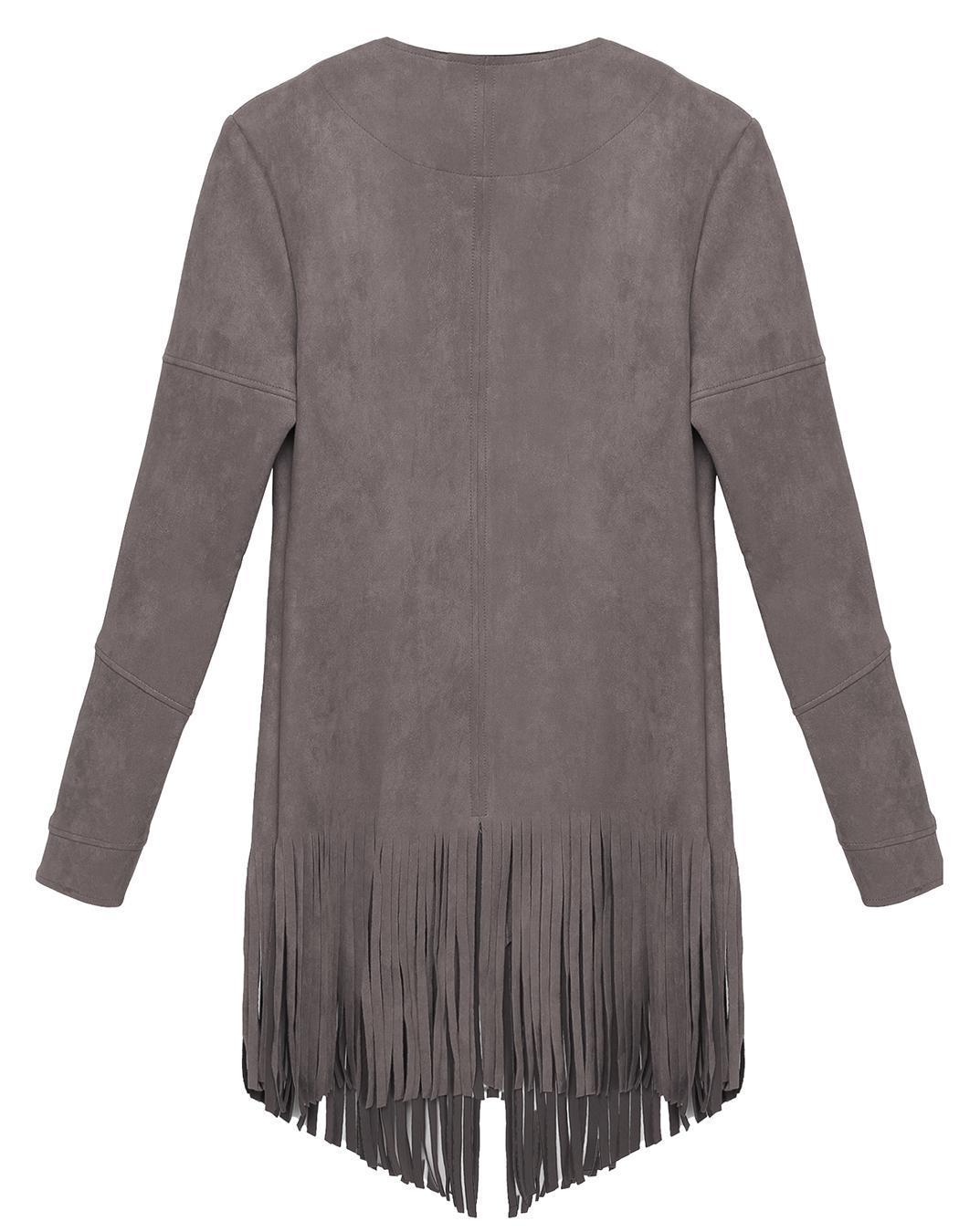 Women Casual Cardigan Long Sleeve Solid Tassel Long Coat 2