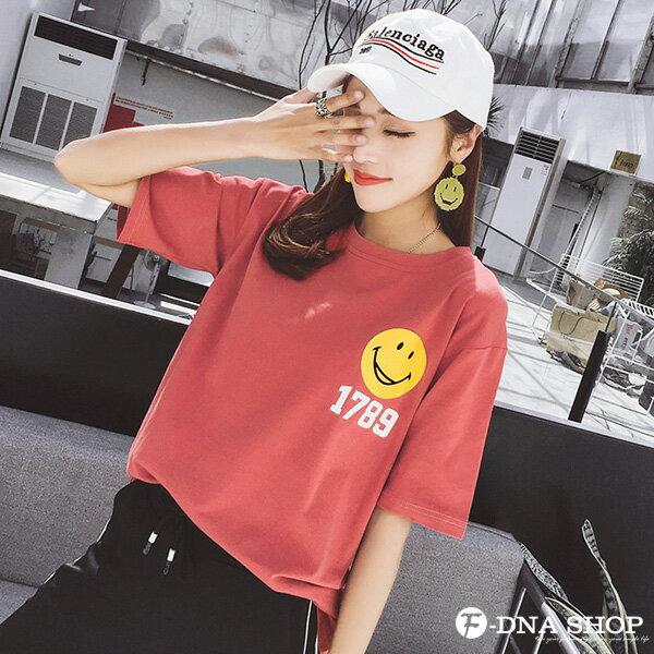F-DNA★笑臉1789前後印圖圓領短袖上衣T恤(2色-M-2XL)【ET12717】 4