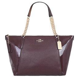 Coach F55443 女式鵝卵石漆皮鏈條手提包購物袋
