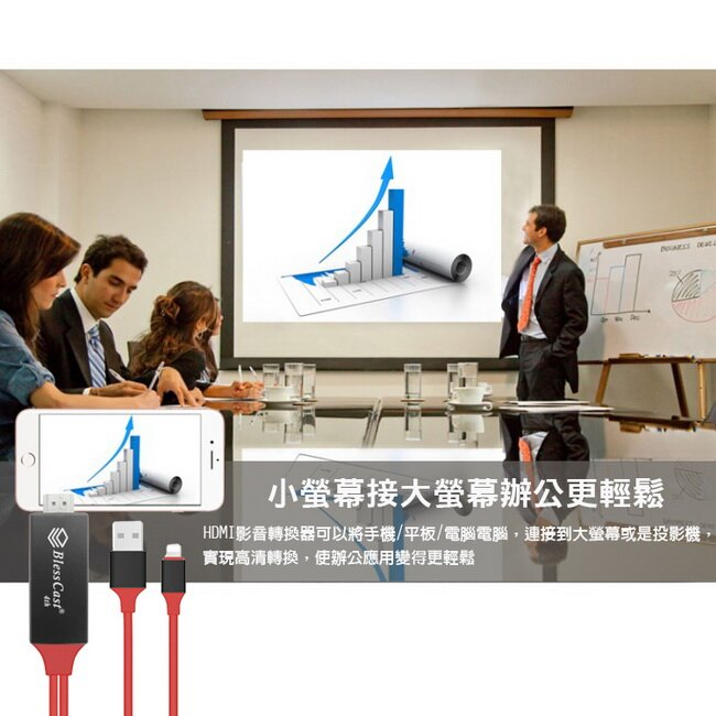 【FD10R活力紅】四代BlessCast蘋果專用 HDMI影音鏡像傳輸線(加送5大好禮)