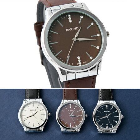 手錶 簡約銀框不對稱水鑽刻度 腕錶  款 柔軟車線皮革錶帶 柒彩年代~NE1884~單支售