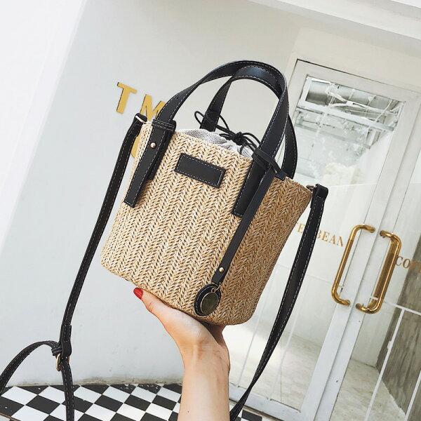 韓版草編織手提包水桶包沙灘包子母包