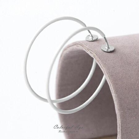 夾式耳環 不敗潮流 6CM繽紛經典彩色圓圈彈簧式耳夾 心機造型單品 柒彩年代【ND298】一對價格 - 限時優惠好康折扣