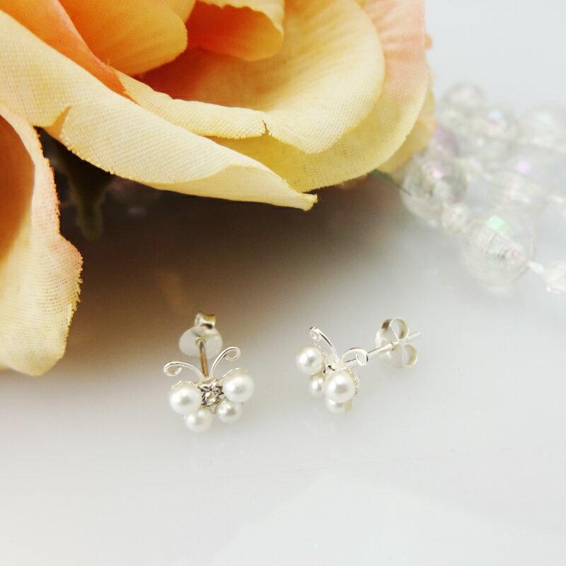 銀飾【珍珠蝴蝶耳環】925純銀 銀飾耳環 針式 純銀耳環 5217SHOPPING