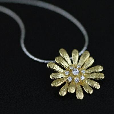925純銀項鍊鑲鑽吊墜~太陽花 精美百搭情人節生日 女飾品2色73gm9~ ~~米蘭 ~
