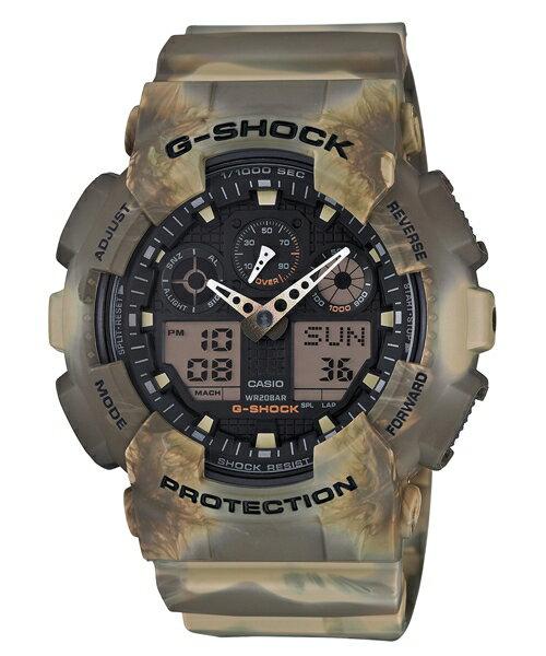 CASIO G-SHOCK GA-100MM-5A褐煙迷彩雙顯腕錶/51mm