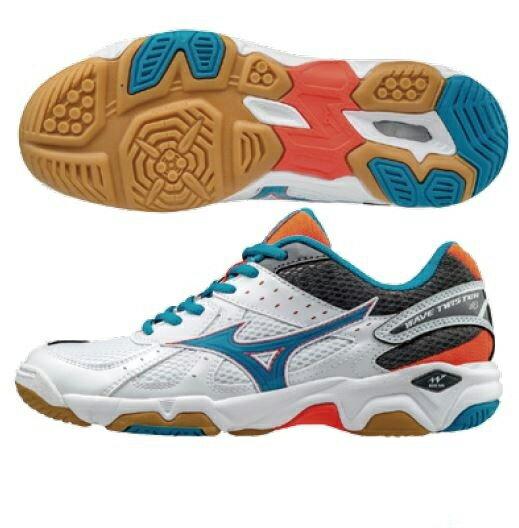 《限時特價↘7折免運》Mizuno WAVE TWISTER 4 女鞋 排球 羽球  白 藍 【運動世界】 V1GC157084