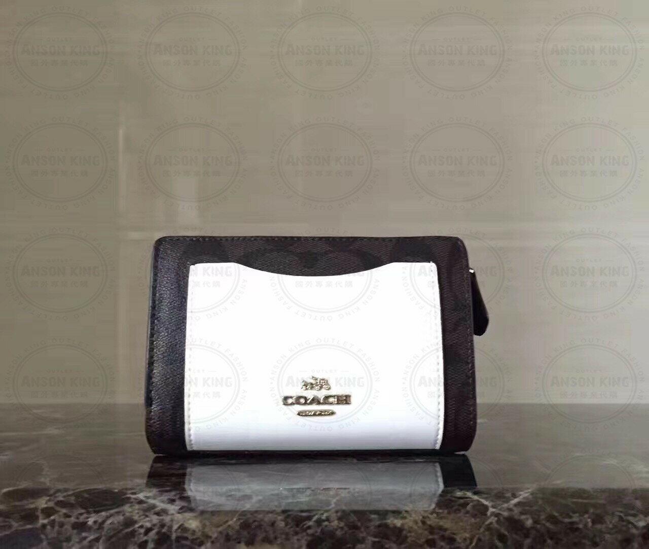 美國Outlet代購 Coach 全新正品 F57824 歐普印花拚色三折短夾 零錢包 鈔票夾 證件夾 黑拚白