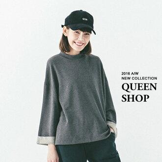 Queen Shop【01094134】小高領花紗反摺寬袖衛衣 兩色售*現貨+預購*