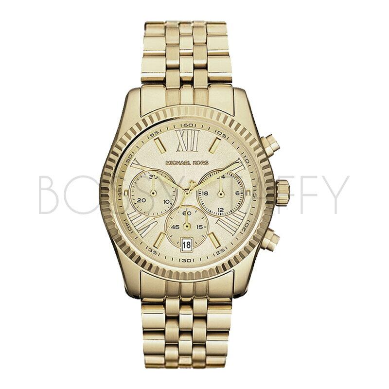 MK5556 MICHAEL KORS 低調簡約羅馬數字三眼腕錶 手錶 耀眼金 38mm