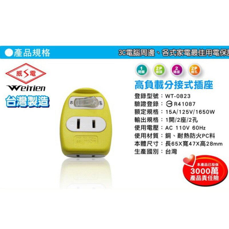 《台灣製造》1開2插2孔分接器 15A / 分接插座 /安全開關插座(顏色隨機出貨) WT-0823