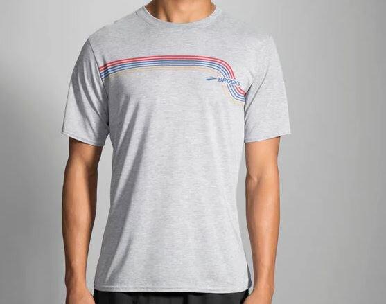 [陽光樂活]BROOKS(男)軌跡短TTrackT-Shirt-BK211089009麻灰
