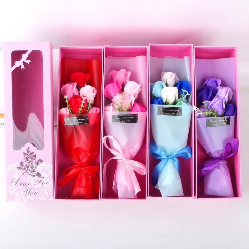 玫瑰香皂花束禮盒 盒子尺寸約 37x11x8 cm 高仿真 6朵漸層色系組合 禮盒 香皂 玫瑰(送禮首選)【JoWoJJ】