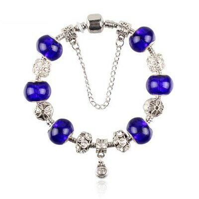 ~手鍊潘朵拉元素串珠手鍊925純銀~琉璃飾品藍色精緻精美七夕情人節生日 女 73bm163