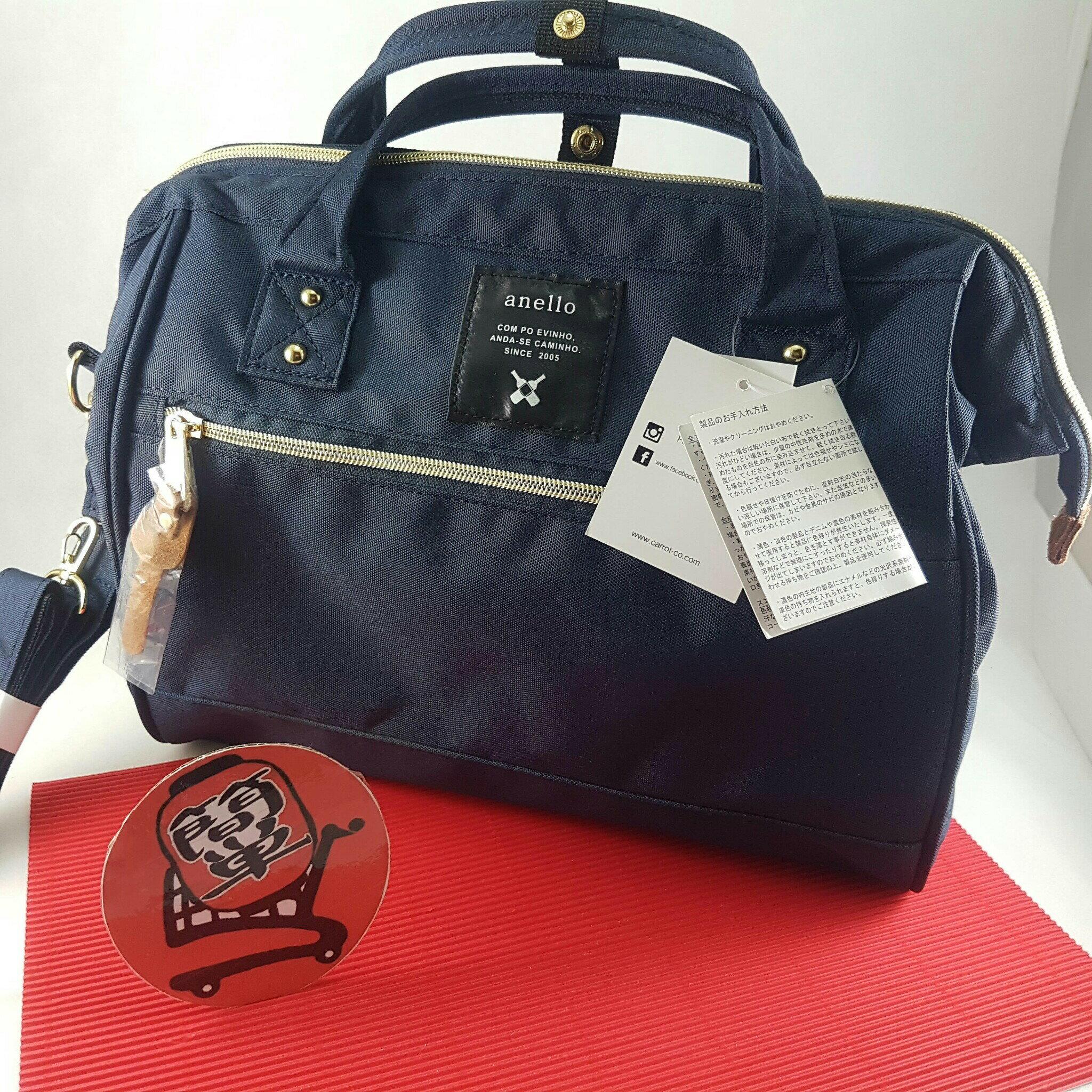 『簡単全球購』大尺寸側背-深藍 anello 新款側背包、手提包 2WAY 男女通用時尚包 大尺寸波