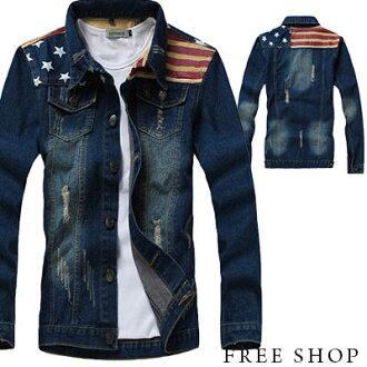 牛仔外套‧鉚釘胸前口袋拼接線條牛仔外套‧一色【ND90015】-TAIJI-