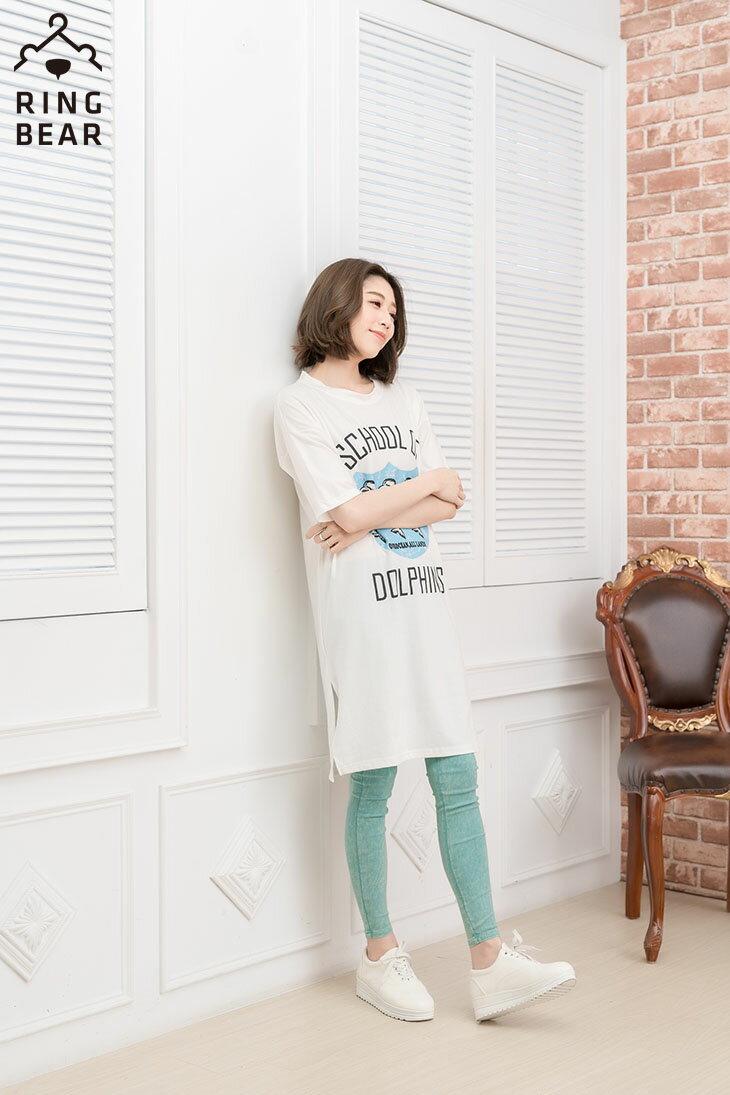 中大尺碼--率性風格可愛海豚學校印圖五分袖寬鬆版型休閒長洋裝(黑.白XL-3L)-D278眼圈熊中大尺碼 6