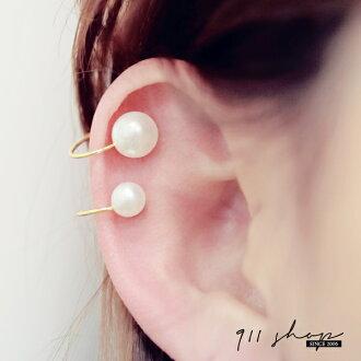 Fleur.氣質珍珠耳骨夾夾式耳環二件組【hc267】*911 SHOP*