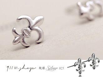 *911 SHOP*【s031】Joyful.925純銀刷紋克羅心鳶尾花穿針式耳環