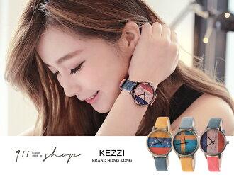 *911 SHOP*【ta347】Glint.港牌KEZZI。仿舊感國旗雙色牛仔紋皮革錶帶手錶