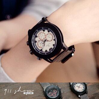 Candor.V6品牌。金屬工業風凹面仿三眼金屬鍊帶大錶手錶【ta435】*911 SHOP*