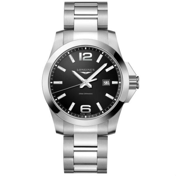 LONGINES浪琴錶L37604566征服者系列優雅經典腕錶黑面43mm