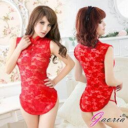 Gaoria 東方佳人 半透網紗性感旗袍 角色服 紅 情趣睡衣 N3-0001