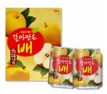 韓新館:團購優惠價---해태HAITAI海太韓國水梨汁禮盒(1盒12罐)×4盒