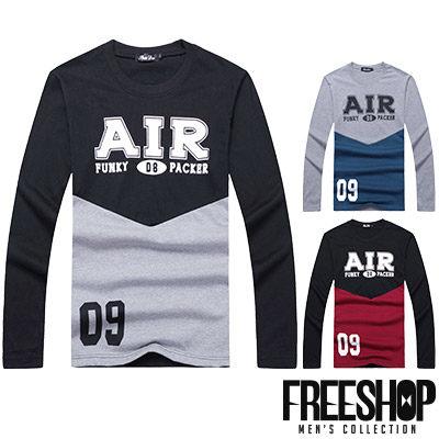 Free Shop~QR95015~日韓風格撞色拼接AIR數字09印花圓領棉質長T長袖上衣