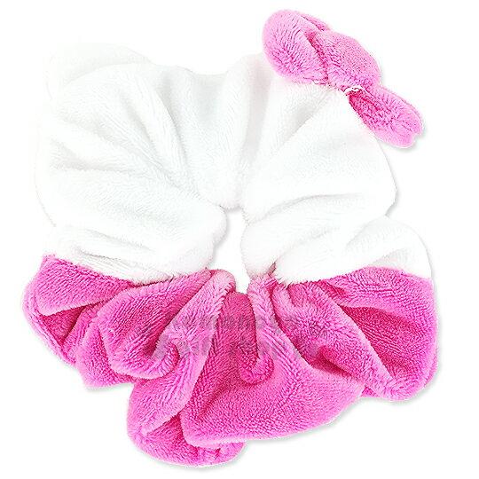 〔小禮堂〕Hello KItty 絨毛造型髮圈《白粉.大臉.立體粉蝴蝶結》也可當可愛手環