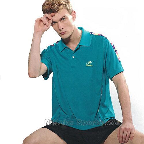 【日本名牌Nittaku】男女吸濕排汗短POLO衫-湖藍#3850(排汗衫)